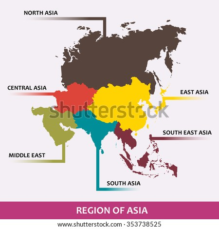 Area of each asian region classify by color. (EPS10 Art vector separate part by part) - stock vector