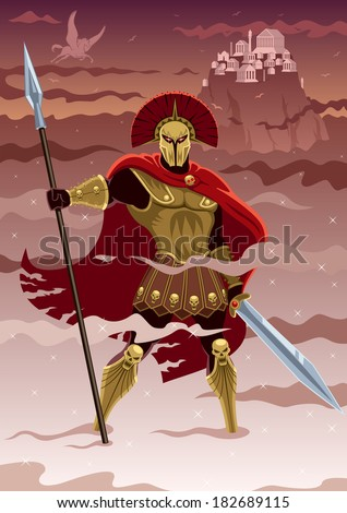 Ares, god of war. No transparency used. Basic (linear) gradients. - stock vector