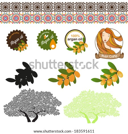 Argan oil set with labels and argan tree - stock vector