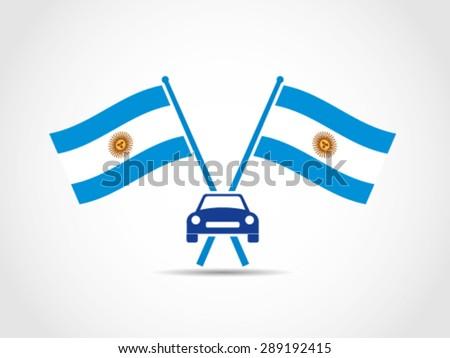 Argentina Emblem Crossed Flags Car Automotive Automobile Industry - stock vector