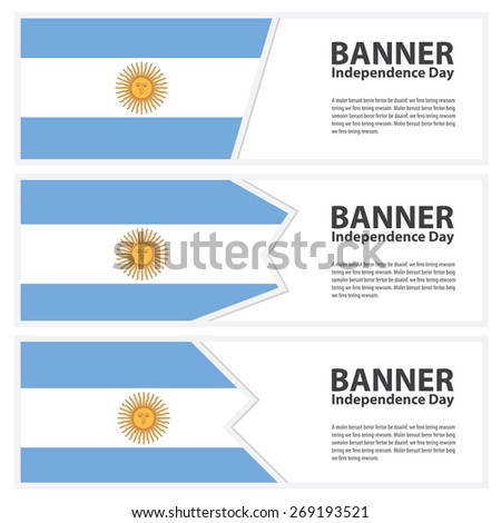 argentina Flag banners collection independence day template backgrounds, infographic - stock vector