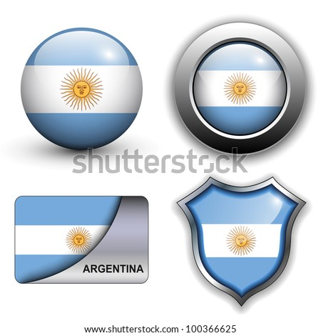 Argentina flag icons theme. - stock vector