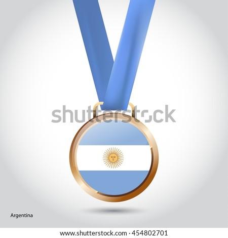 Argentina Flag in Bronze Medal. Olympic Game Bronze Medal. Vector Illustration - stock vector