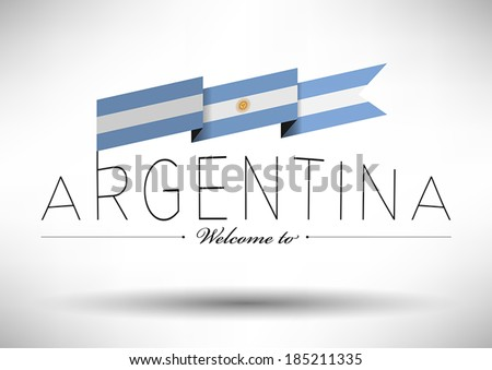 Argentina Flag with Typography Design - stock vector