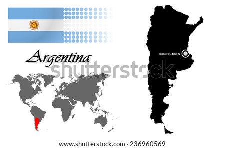 Argentina info graphic with flag , location in world map, Map and the capital ,Canberra, location.(EPS10 Separate part by part) - stock vector
