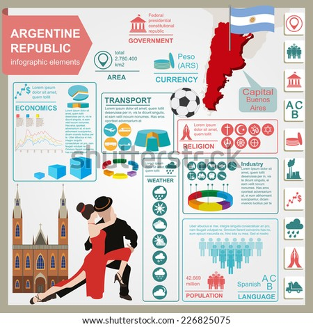 Argentina infographics, statistical data, sights. Vector illustration - stock vector