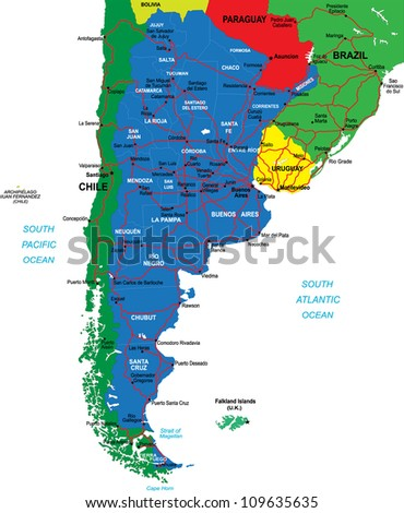Argentina map - stock vector