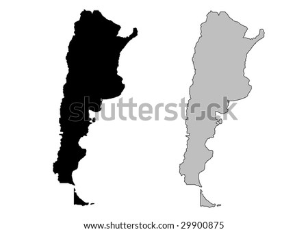 Argentina map. Black and white. Mercator projection. - stock vector