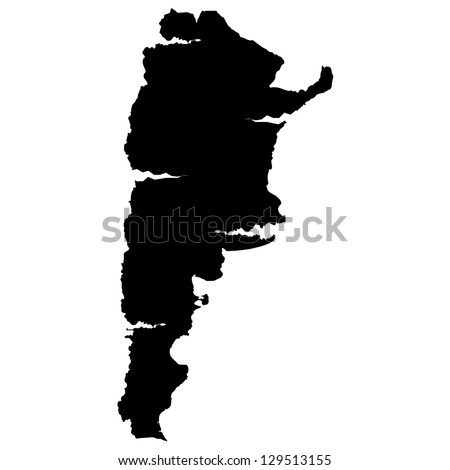 Argentina map silhouette - stock vector