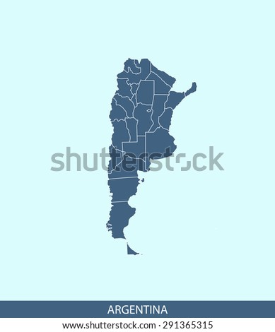 Argentina map vector, Argentina map outlines in a contrasted blue background for brochure and web-page templates and science & publication uses - stock vector
