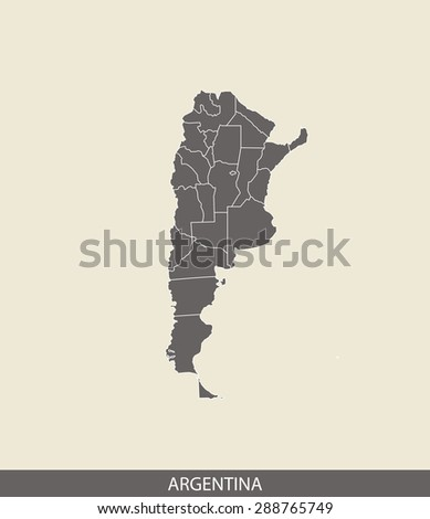 Argentina map vector, Argentina map outlines in a contrasted grey background for brochure and web-page templates and science & publication uses - stock vector