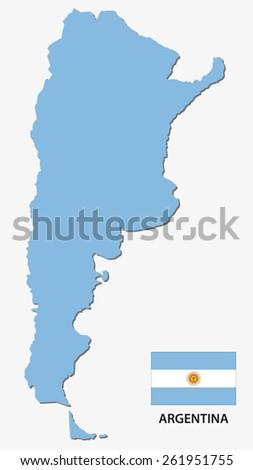 argentina map with flag - stock vector