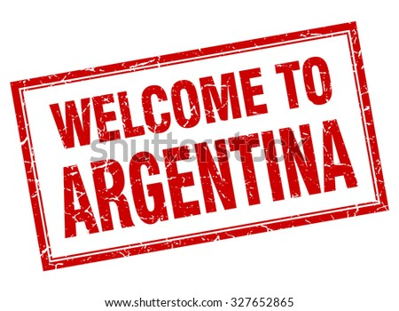 Argentina red square grunge welcome isolated stamp - stock vector
