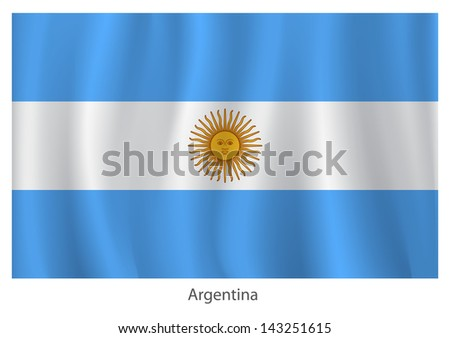 Argentina vector flag with title - stock vector