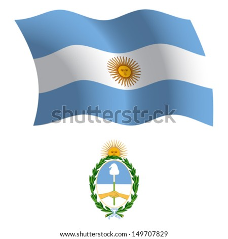 argentina wavy flag and coat of arms against white background, vector art illustration, image contains transparency - stock vector