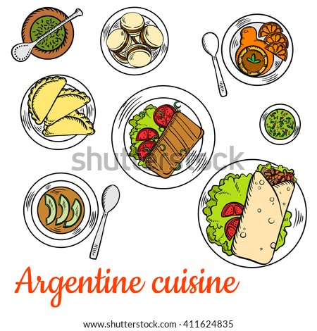 Argentine national cuisine such as asado short ribs, empanadas, chimichurri sauce, vegetarian cream soup with avocado, alfajor cookies and dulce de leche dessert with fresh oranges and mate tea