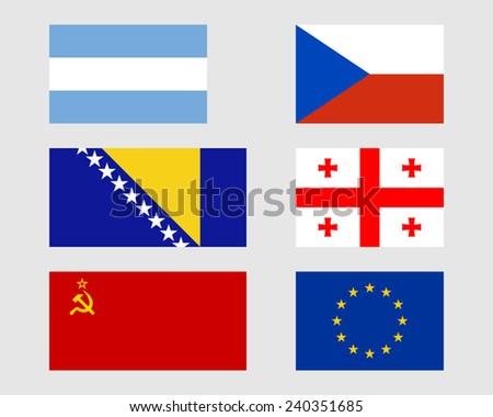 Argentinean, Czech, Bosnian, Georgian, Soviet and European flags. - stock vector