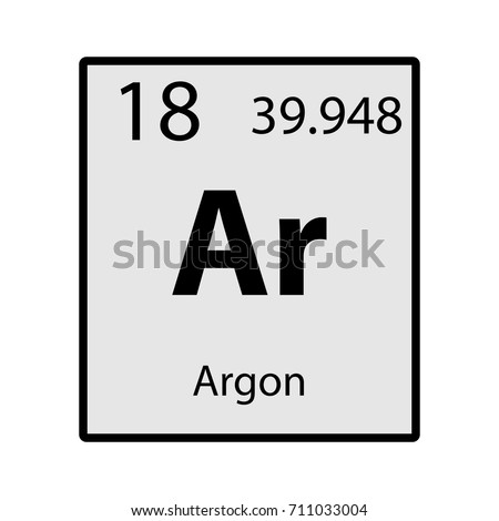 Argon Periodic Table Element Gray Icon Stock Vector ...