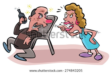 Argues wife to alcoholic husband - stock vector