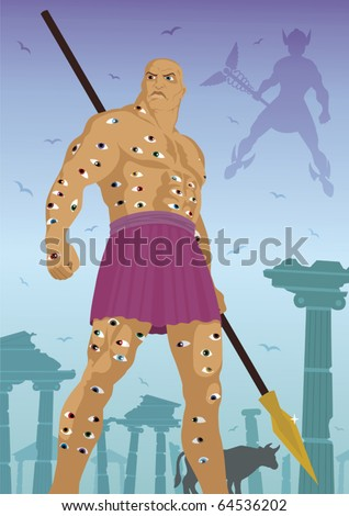 Argus All-Seeing: The hundred eyed giant Argus All-seeing, standing guard over the cow Io. God Hermes is coming to steal the cow. No transparency used. - stock vector