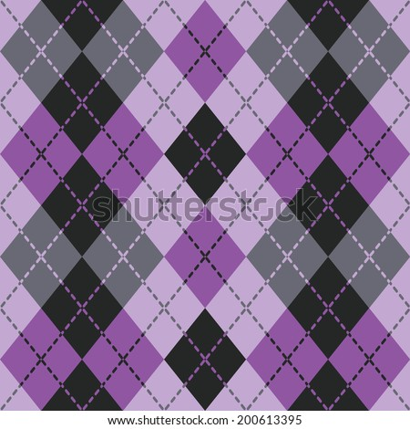 Argyle design in purple and black repeats seamlessly. Colors are grouped for easy editing.