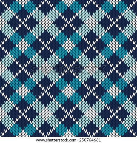 Argyle Knitting Pattern. Seamless Vector Background - stock vector
