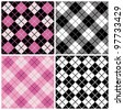 Argyle-Plaid Pattern in trendy pink and black repeats seamlessly. Tiles are on separate layers and colors are grouped for easy editing. - stock vector
