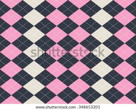 Argyle seamless pattern. Pink, white, blue color.