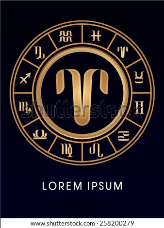 Aries ,Luxury 12 Zodiac wheel cycle sign, designed using gold line color on dark blue background, logo, symbol, icon, graphic, vector. - stock vector