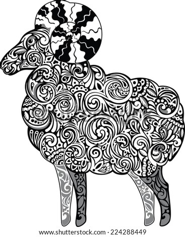 Aries, monochrome - stock vector