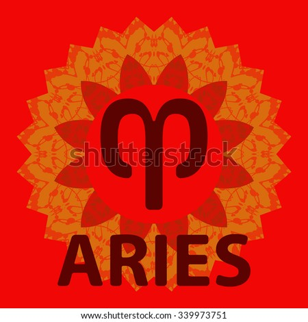Aries. The Ram. Zodiac icon with mandala print. Vector icon. - stock vector
