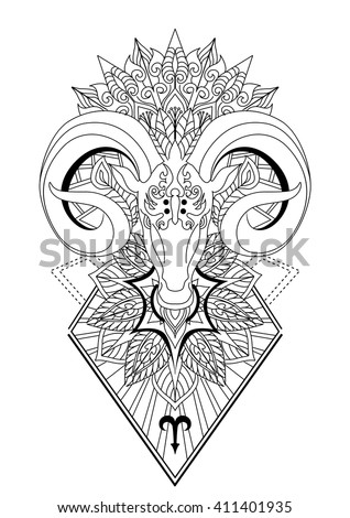 Aries with mandala Tattoo design,Horn sheep line art design for coloring book