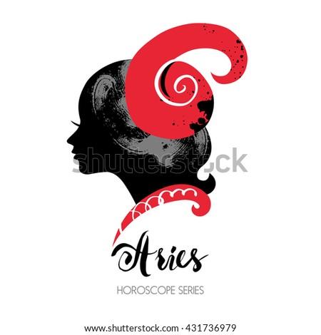 Aries zodiac sign. Beautiful girl silhouette. Vector illustration. Horoscope series - stock vector