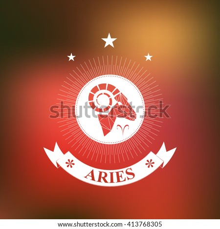 Aries Zodiac sign, Horoscope, tattoo, vintage badge - stock vector