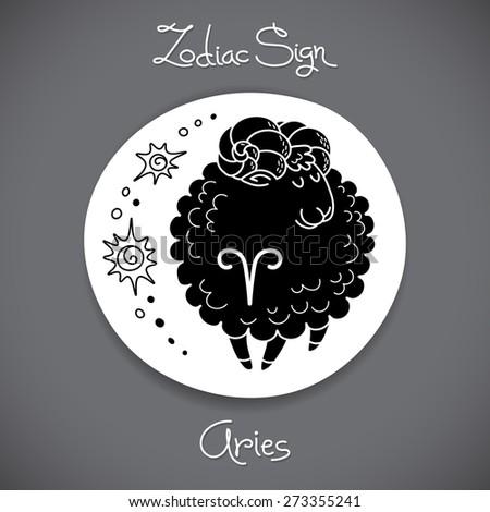 Aries zodiac sign of horoscope circle emblem in cartoon style. Vector illustration. - stock vector