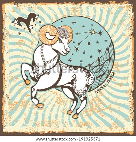 Aries  zodiac signs of Horoscope circle with constellation on shabby vintage background.Graphic Vector Illustration in retro style.   - stock vector