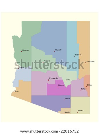 Arizona county map, with county seats. 21 layers, fully editable. - stock vector