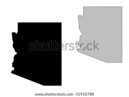 Arizona map. Black and white. Mercator projection. - stock vector