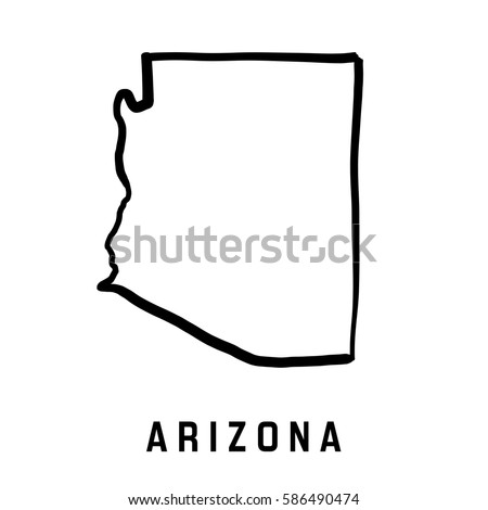 Arizona State Map Outline Smooth Simplified Stock Vector - Us state map outline