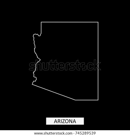 Arizona State Map Outline Smooth Simplified Stock Vector - Arizona state in usa map