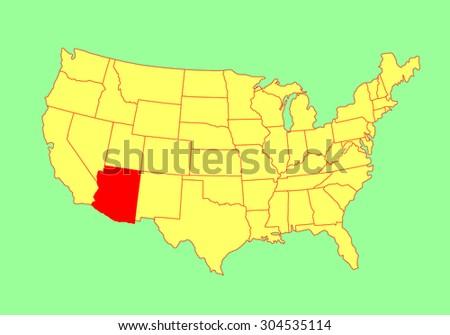 Arizona State Usa Vector Map Isolated Stock Vector 304535114