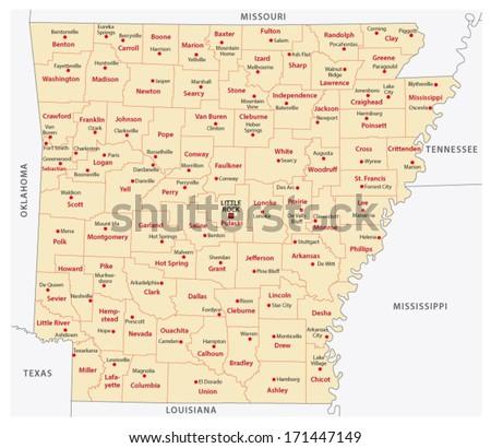 Arkansas administrative map - stock vector