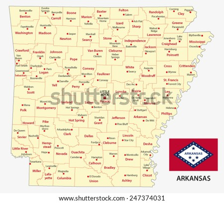 Arkansas administrative map with flag - stock vector