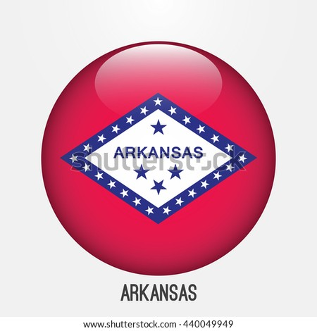 Arkansas flag in circle shape. Transparent,glossy,glass button - stock vector