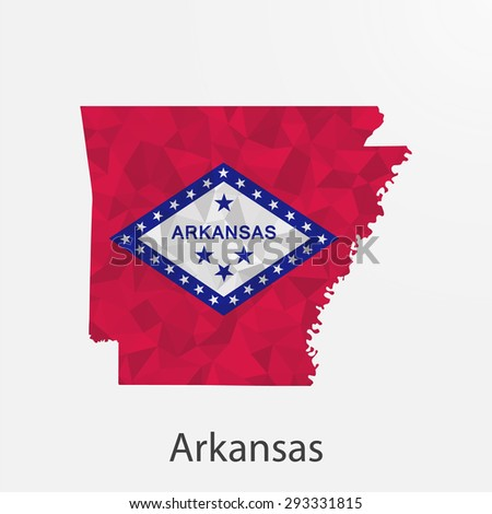 Arkansas flag map in geometric,mosaic polygonal style.Abstract tessellation,background. Low poly vector illustration EPS10 - stock vector