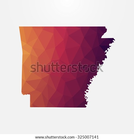 Arkansas in geometric polygonal style.Abstract tessellation,modern design background. Vector illustration EPS10 - stock vector