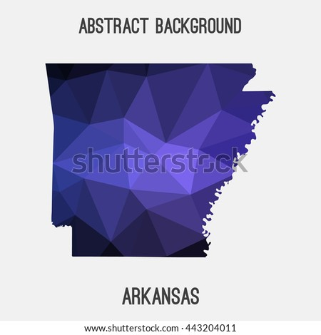Arkansas map in geometric polygonal,mosaic style.Abstract tessellation,modern design background. Vector illustration EPS8