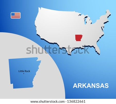 Arkansas on USA map with map of the state