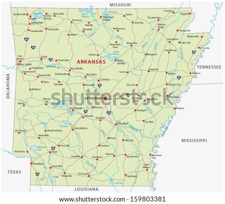 arkansas road map - stock vector