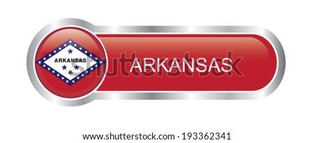 Arkansas State flag glossy banner  - stock vector